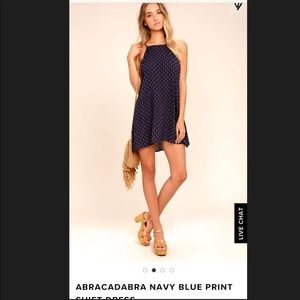 NWT Lulus Navy patterned shift dress
